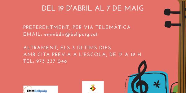 Preinscripcions a l'Escola Municipal de Música de Bellpuig