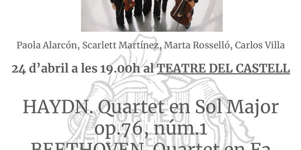 Tercer Cicle de Concerts de l'Orfeó Joventut de Bellpuig. Actuació del Quartet Sannois