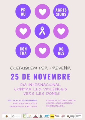 Cartell Actes 25N Dia Eliminació violència envers dones a Bellpuig 2019 1.jpg