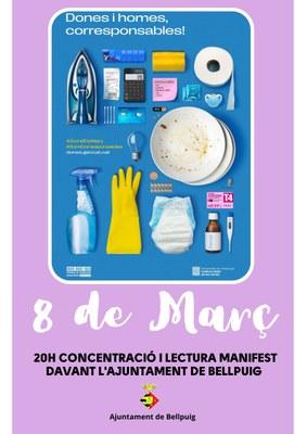 Dia 8 de març: Concentració i lectura del Manifest davant de l'Ajuntament