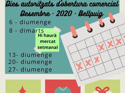 El dia 8 de desembre hi haurà mercat setmanal a Bellpuig