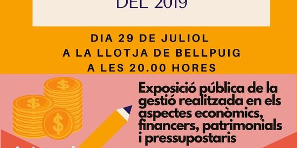 L'Ajuntament de Bellpuig exposa els comptes generals de l'any 2019