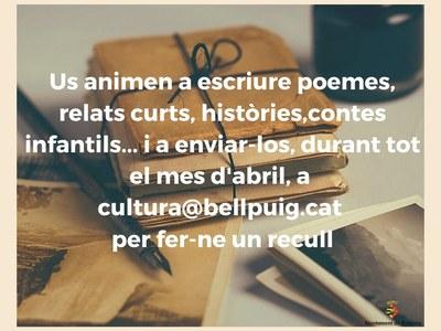L'Ajuntament de Bellpuig proposa per Sant Jordi escriure relats curts, poesies, contes... per fer-ne un recull