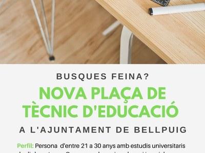 Nova plaça de Tècnic d'educació a l'Ajuntament de Bellpuig