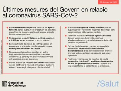 Últimes mesures del Govern de Catalunya en relació al coronavirus SARS-CoV-2